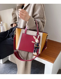 Fashion Red Wine Contrast Stitching Large Capacity Shoulder Bag