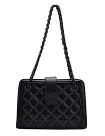 Fashion Black Studded Diamond Chain Shoulder Messenger Bag