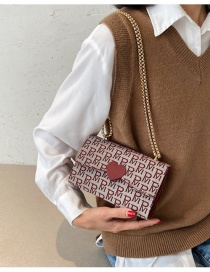 Fashion Red Woven Fabric Letter Chain Love One Shoulder Messenger Bag