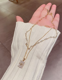 Fashion Gold Plated Color Real Gold-plated Geometric Cross Multi-layer Necklace