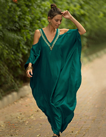 Fashion Peacock Green V-neck Gold-trimmed Off-shoulder Loose-fitting Sunscreen Clothing