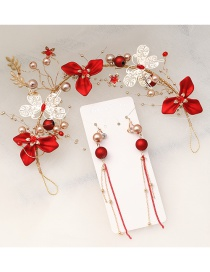 Fashion Red Handmade Beaded Flower Butterfly Alloy Hollow Headband Ear Clip