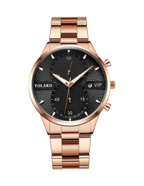 Fashion Rose Gold With Black Face Calendar Steel Strap Ultra-thin Strip Mens Watch