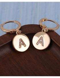 Fashion A Gold-plated Copper Micro-inlaid Zircon Letter Round Earrings