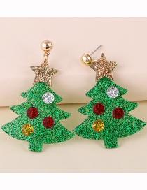 Fashion Christmas Tree Resin Christmas Tree Five-pointed Star Earrings