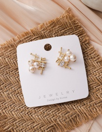 Fashion Gold Color Pearl Geometric Alloy Hollow Earrings