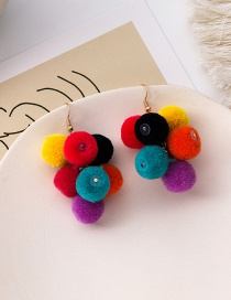 Fashion Color Mixing Hairball Hit Color Alloy Earrings