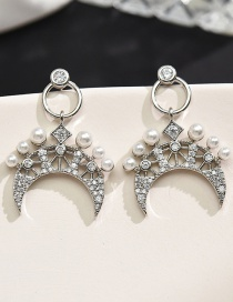 Fashion Silver Color Micro Inlaid Zircon Moon Pearl Hollow Earrings