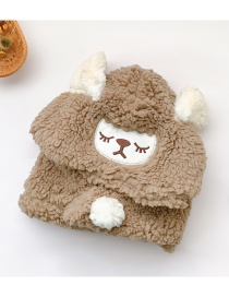 Fashion Khaki Sheep Hat Circumference Is About 48cm-54cm Lamb Wool Sheep Children Hat And Scarf One