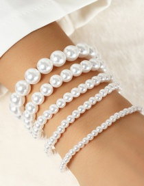 Fashion White Large And Small Pearl Stretch Thread Beaded Multi-layer Bracelet