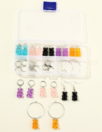 Fashion Color Mixing Resin Bear Storage Separate Earring Set