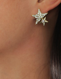 Fashion Five-pointed Star Diamond Five-pointed Star Pearl Alloy Earrings