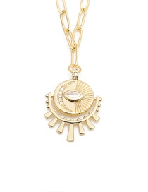 Fashion Gold Color Micro-set Zircon Eyes Gold-plated Copper Necklace