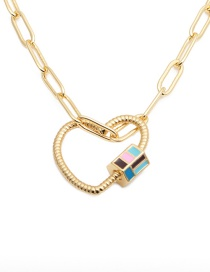 Fashion Love Lock Copper Love Heart Dripping Hollow Necklace