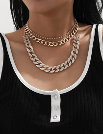Fashion Gold Color Tassel Full Diamond Thick Chain Alloy Multilayer Necklace
