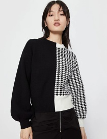 Fashion Black And White Contrasting Color Houndstooth Pullover Sweater