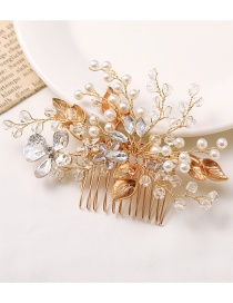 Fashion Color Mixing Crystal Pearl Flower Leaf Alloy Hair Comb