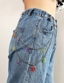 Fashion Color Mixing Resin Flower Love Alloy Multilayer Waist Chain
