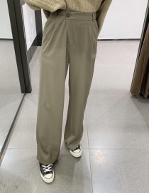 Fashion Armygreen Stitching Solid Color Loose Straight-leg Pants