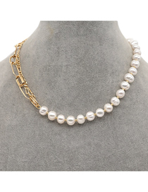 Fashion Gold Color Stainless Steel Pearl Bead Stitching Alloy Necklace
