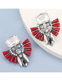 Fashion Red Alloy Inlaid Glass Diamond Acrylic Geometric Earrings