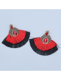 Fashion Red Alloy Inlaid Glass Diamond Fan-shaped Tassel Earrings