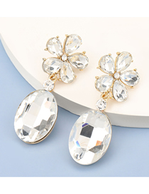 Fashion White Alloy Inlaid Glass Diamond Flower Pendant Earrings