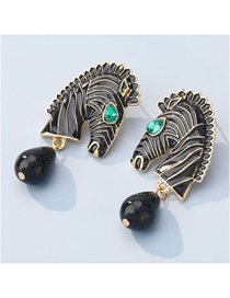 Fashion Black Alloy Dripping Horse-shaped Animal Earrings