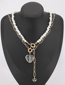 Fashion Two-piece Suit Imitation Pearl Alloy Resin Love Pendant Multilayer Necklace