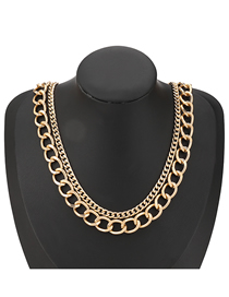 Fashion Gold Color Thick Chain Alloy Hollow Alloy Necklace