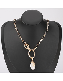 Fashion Gold Color Alloy Palm Pearl Pendant Geometric Necklace