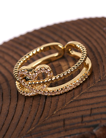 Fashion Gold Color Zircon Double Heart Hollow Ring
