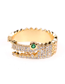 Fashion Gold Color Crocodile Open Zircon Ring