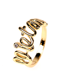 Fashion Gold Color Diamond Letter Open Ring