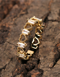 Fashion Gold Color Hollow Heart Open Ring