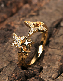 Fashion Gold Color 18k Gold Plated Diamond Star Ring