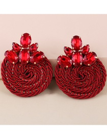 Fashion Red Diamond Geometric Round Alloy Earrings