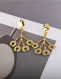 Fashion Golden Bright Gold Branch Alloy Hollow Earrings