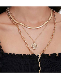 Fashion Golden Alloy Round Head Pendant Multilayer Necklace