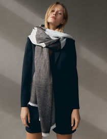 Fashion Gray Wide Striped Contrast Color Cashmere Scarf Shawl