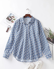 Fashion Blue Long Sleeve Loose Shirt With Printed Lapel