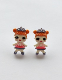 Fashion Earrings Orange Simulation Character Child Resin Alloy Earrings