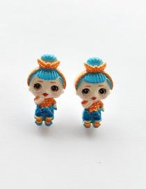 Fashion Earring Blue Simulation Character Child Resin Alloy Earrings