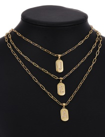 Fashion A 26 Letters Pendant Necklace With Copper Inlaid Zircon