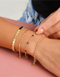 Fashion Golden Handmade Chain Round Stitching Multilayer Bracelet