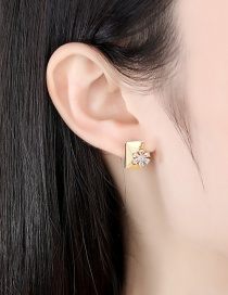 Fashion 18k Micro-inlaid Zircon Flower Geometric Earrings