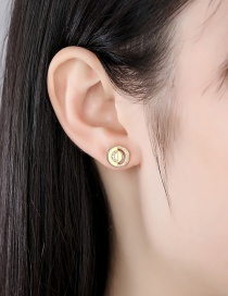 Fashion 18k Copper Inlaid Zircon Round Hollow Earrings