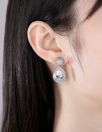 Fashion Silver Drop-shaped Copper Inlaid Zircon Earrings