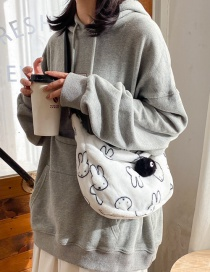 Fashion White Without Pendant Plush Rabbit Print One-shoulder Messenger Bag
