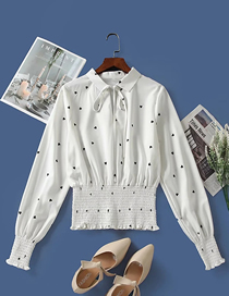 Fashion White Polka Dot Waist Lapel Long Sleeve Pullover Shirt